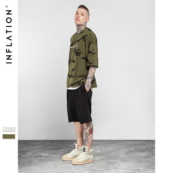 FuzWeb:INFLATION Spring Summer Collection Camo Tee Hip Hop Mens T-Shirt Military Camouflage Men Tshirt Streetwear Oversize