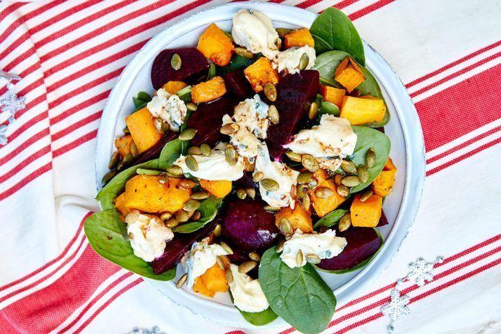Pumpkin and beetroot salad