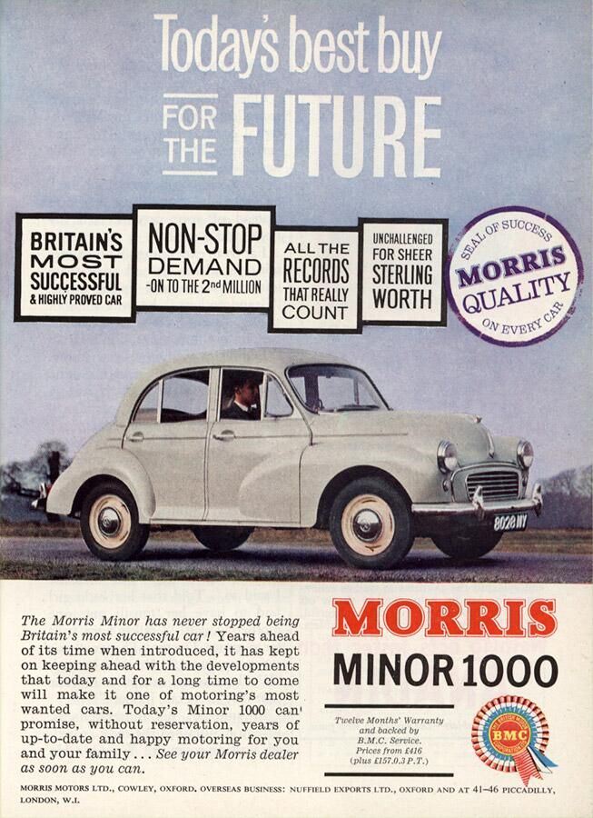 """Britain's most successful and highly proved car."" Morris Minor 1000. 1962 advert."