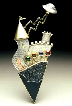 "Brooch | Yumi Ueno.  "" Legend of UFO ""   Drusy onyx, Citrine, Iolite, Tourmaline, 22,18,14K gold, Sterling silver"