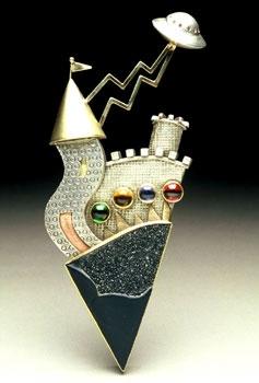 "Brooch | Yumi Ueno.  "" Legend of UFO ""   Drusy onyx, Citrine, Iolite, Tourmaline, 22,18,14K gold, Sterling silver"