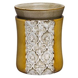 A crackled ochre glaze is the perfect backdrop for a panel of softly whitewashed gray Moroccan tiles. To purchase, go to www.jenni.scentsy.com.au