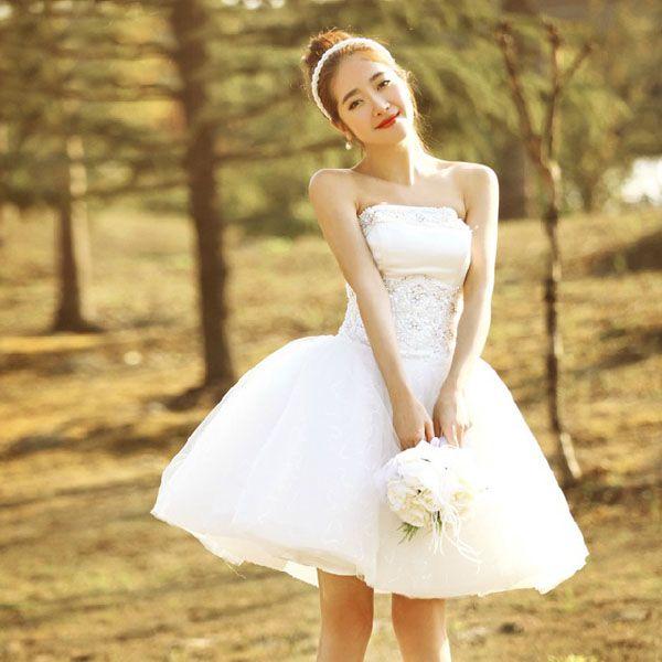 「着後レビューでプレゼント」花嫁ドレス・ウェディングドレス・ウエディングドレス・二次会ドレス・パーティードレス・イブニングドレス★ミニドレス★大きいサイズ・白★ベアトップ・編み上げ・レースアップ | ROOM
