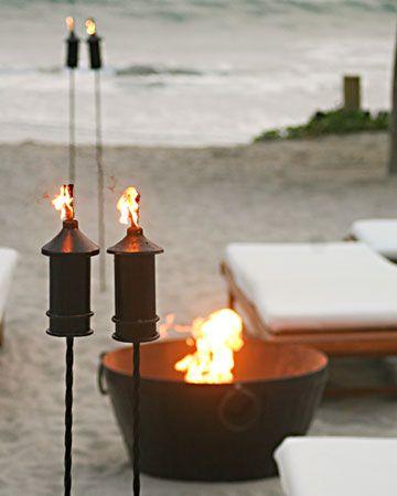 A beach bonfire is the perfect ending to a destination wedding
