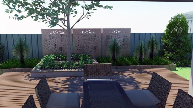 Modern Native Landscape Design - Lockleys Project Rear Entertaining Area