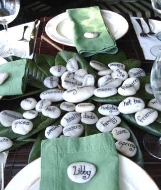 Namen op witte stenen voor tafelschikking. Overige stenen als tafeldecoratie? Eventueel ook met tekst.