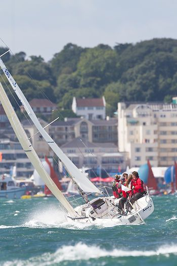 The J/80 yacht 'Aqua-J' racing off Cowes during Aberdeen Asset Management Cowes Week #sailboats #boats #sailing