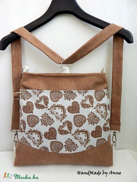 Anne - Szíves - sok zsebes variálható hátizsák, oldaltáska, válltáska, táska (annetextil) - Meska.hu