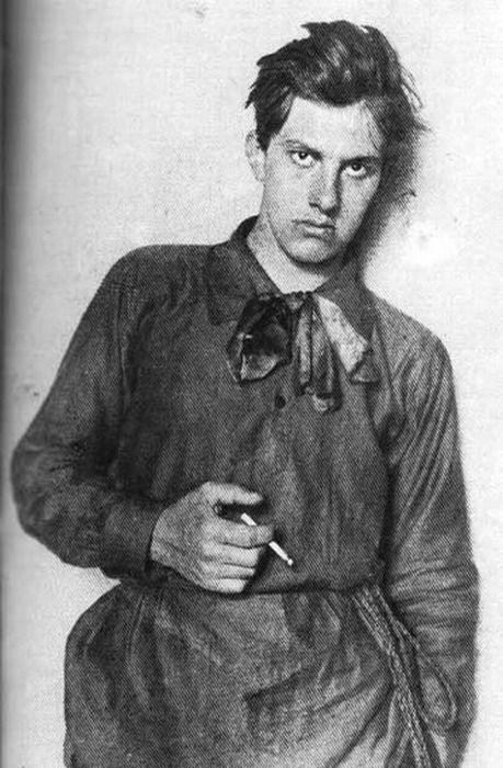 """Vladimir Mayakovsky.  """"Russian poet and author, in his early twenties.  We're just taking a wild guess here, but Mayakovsky probably isn't going to call you."""" Via My Daguerreotype Boyfriend."""