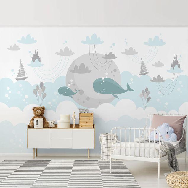 Vliestapete Kinderzimmer Wolken Mit Wal Und Schloss Fototapete