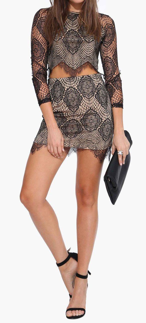 lace crop top skirt clothes handbags pinterest spitzen crop tops schwarze spitze und. Black Bedroom Furniture Sets. Home Design Ideas