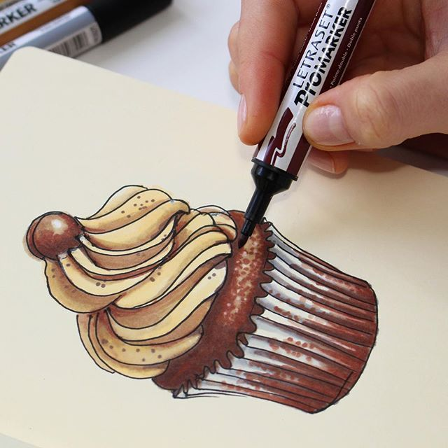 Cupcake sketch with #promarkers