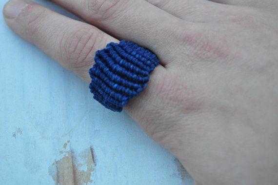 Blue Macrame Ring by LunaMater on Etsy