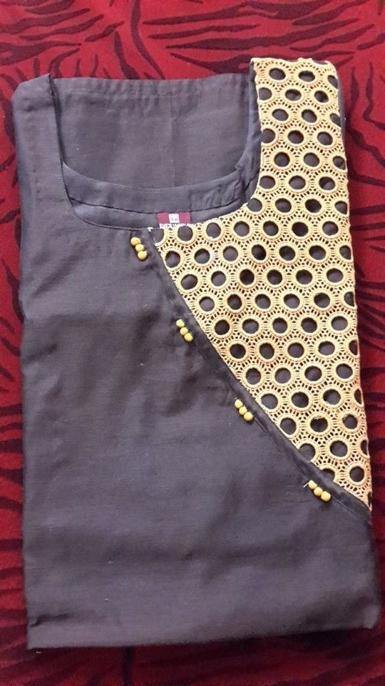 Kurti neck with potli buttons detailing. Get it done by www.fabdarzi.com