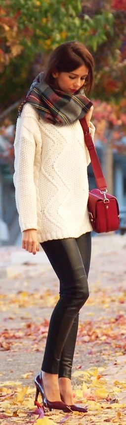 Sweater, leather leggings, and a chunky scarf with heels for an upscale look that's warm and cozy!