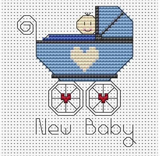 New Baby Boy Cross Stitch Card Kit £7.50 | Past Impressions | Fat Cat Cross Stitch Kit