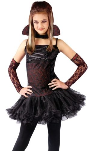 Girls V&ire Ballerina Goth Kids Halloween Costume  sc 1 st  Pinterest : girl vampire costumes for kids  - Germanpascual.Com