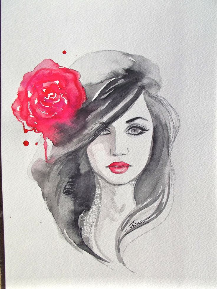 Original Fashion Watercolor Painting, Contemporary Modern ...