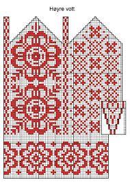 Tradisjonelt norsk vottemønster mitten chart knitting pattern flowers