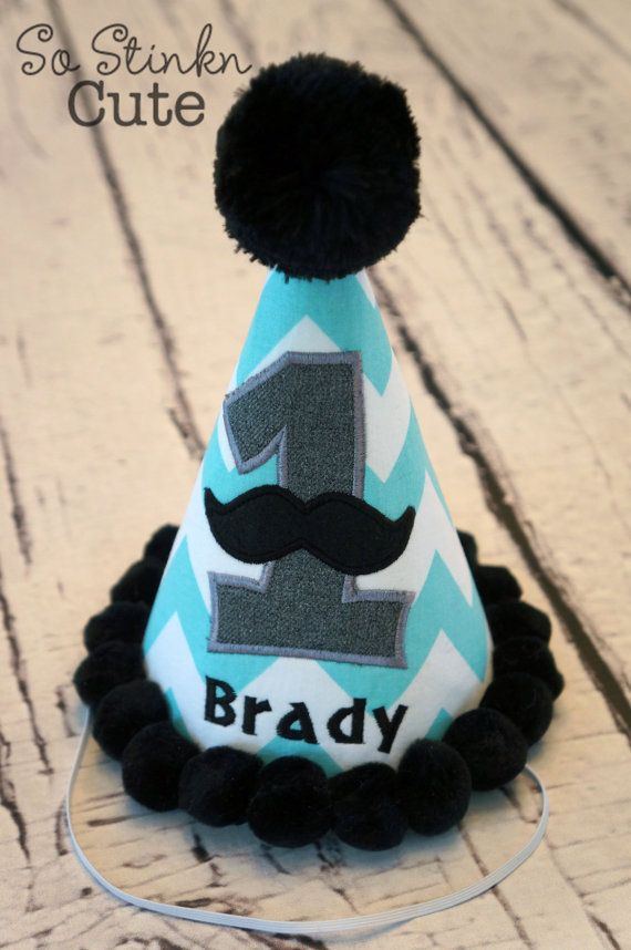 Super Cute Mustache Little Man Birthday Party Hat