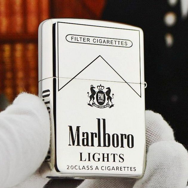 Regular Zippo Sterling Silver Marlboro Lighter