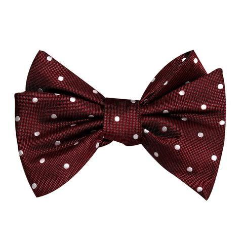 Mahogany Maroon with White Polka Dots Self Tie Bow Tie