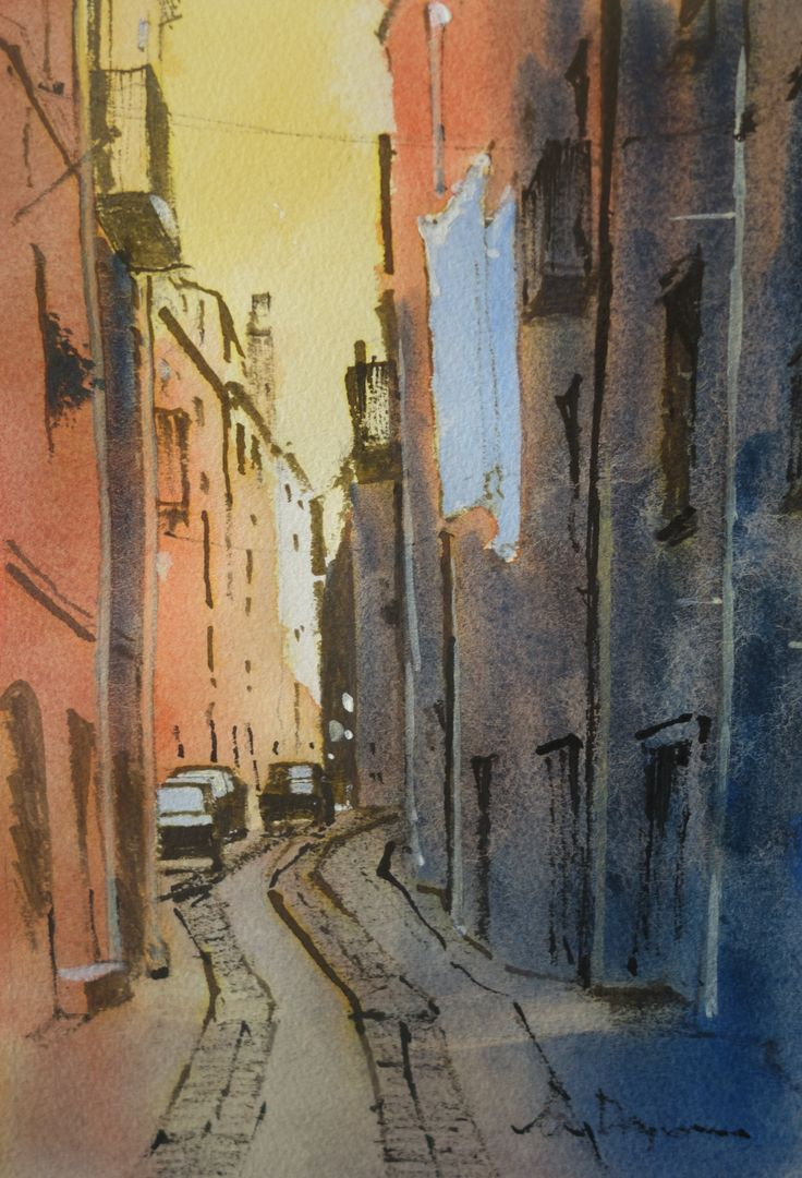 Washing Day Bosa. Line and watercolour
