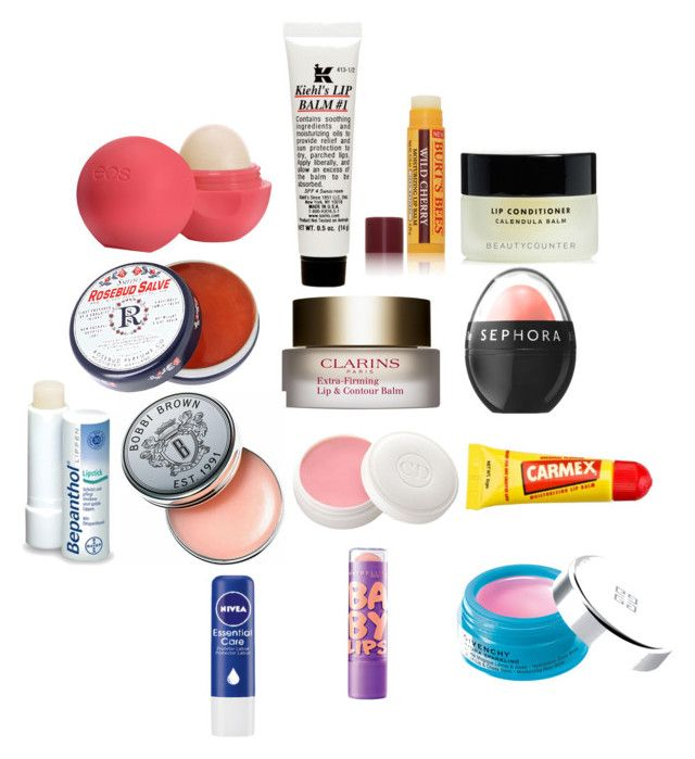 LIP BALMS by elainefernandes on Polyvore featuring beleza, Clarins, Givenchy, Christian Dior, Burt's Bees, Sephora Collection, Eos, Rosebud Perfume Co., Bobbi Brown Cosmetics and Carmex