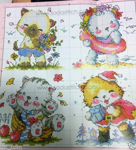 Quatre-saisons-Cats-Counted-cross-stitch-chart-Corée sodastitch-SO-3195