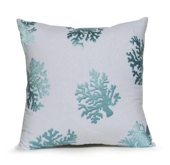 White Decorative Pillow Cover White Blue Cotton by AmoreBeaute