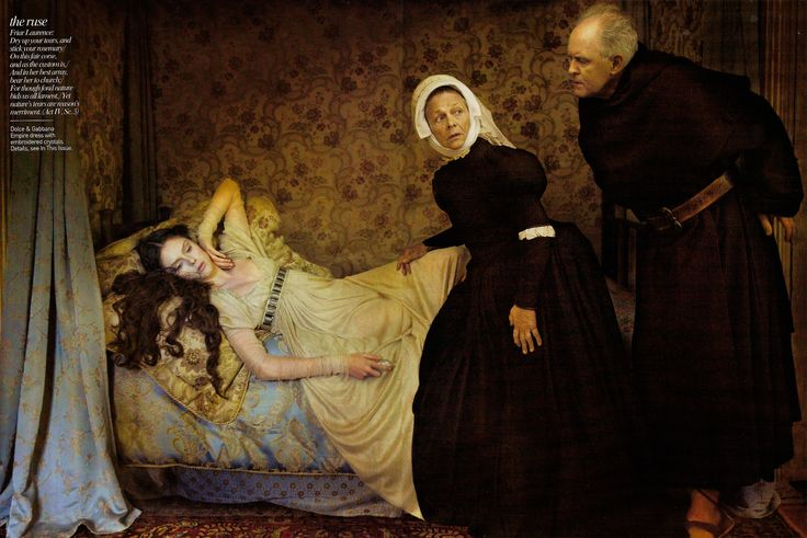 """Romeo and Juliet"" with Coco Rocha as Juliet Capulet, Estelle Parsons as the Nurse, and John Lithgow as Friar Laurence, shot by Annie Leibovitz for Vogue December 2008 issue."