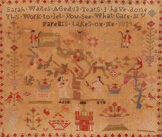 19th century needlepoint sampler with Adam and Eve motif, worked by Sarah Waites, dated 1829