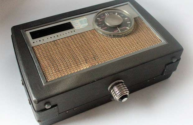"Date: 2013 Materials: Vintage radios, ghetto blaster, light fittings, transformer. Music players converted to be able to screw into normal light sockets. ""I've created what I call 'Sound Bulbs' tha..."