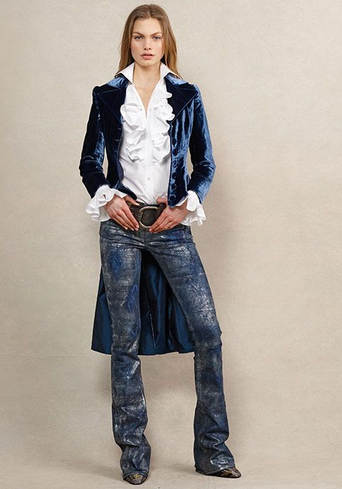 A velvet jacket and a ruffled shirt exude regal femininity, while hand-finished denim adds a rocker edge
