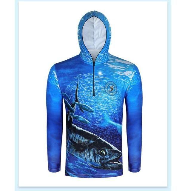 Men Long Sleeve Fishing Sun Shirt Quick Dry Hooded Full Zip Shirts Ultralight