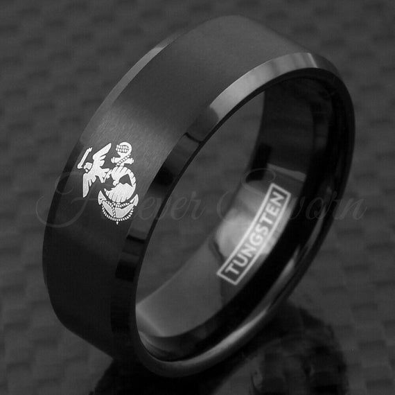 Engraved Marine Corps Ring Usmc Semper Fidelis Military Etsy Mens Wedding Band Sizes Mens Wedding Bands Black Black Tungsten Rings