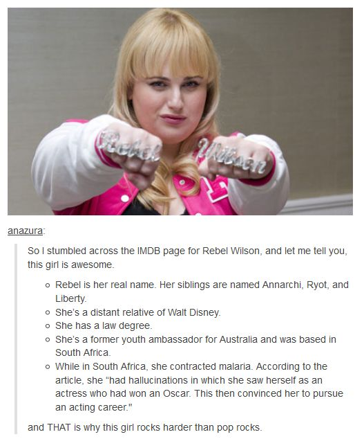 "Rebel Wilson- ""rocks harder then pop rocks"" hHaha"