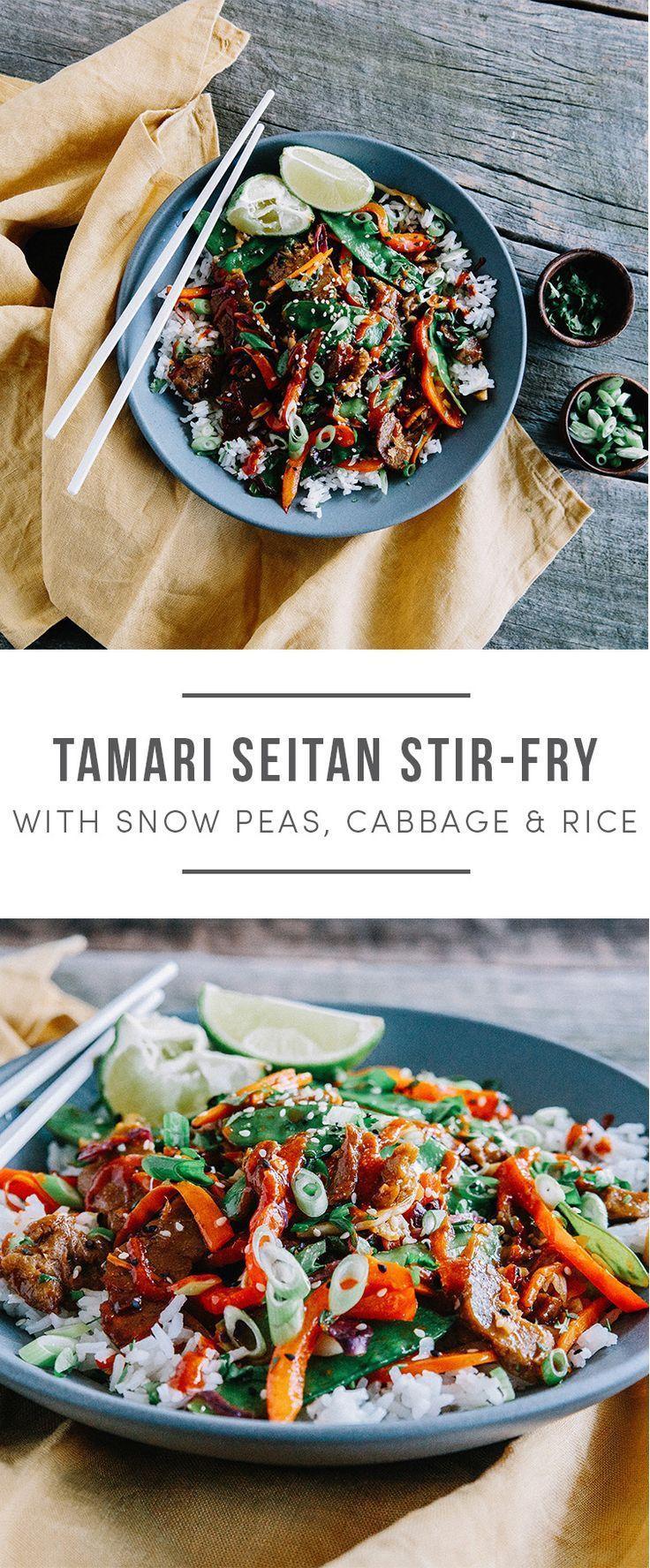 Vegan Tamari Seitan Stir Fry with snow peas, cabbabe, carrots, bell pepper and rice. Recipe here: https://greenchef.com/recipes/seitan-stir-fry-with-snow-peas-vegan?utm_source=pinterest&utm_medium=link&utm_campaign=social&utm_content=Tamari-seitan-stiryfr