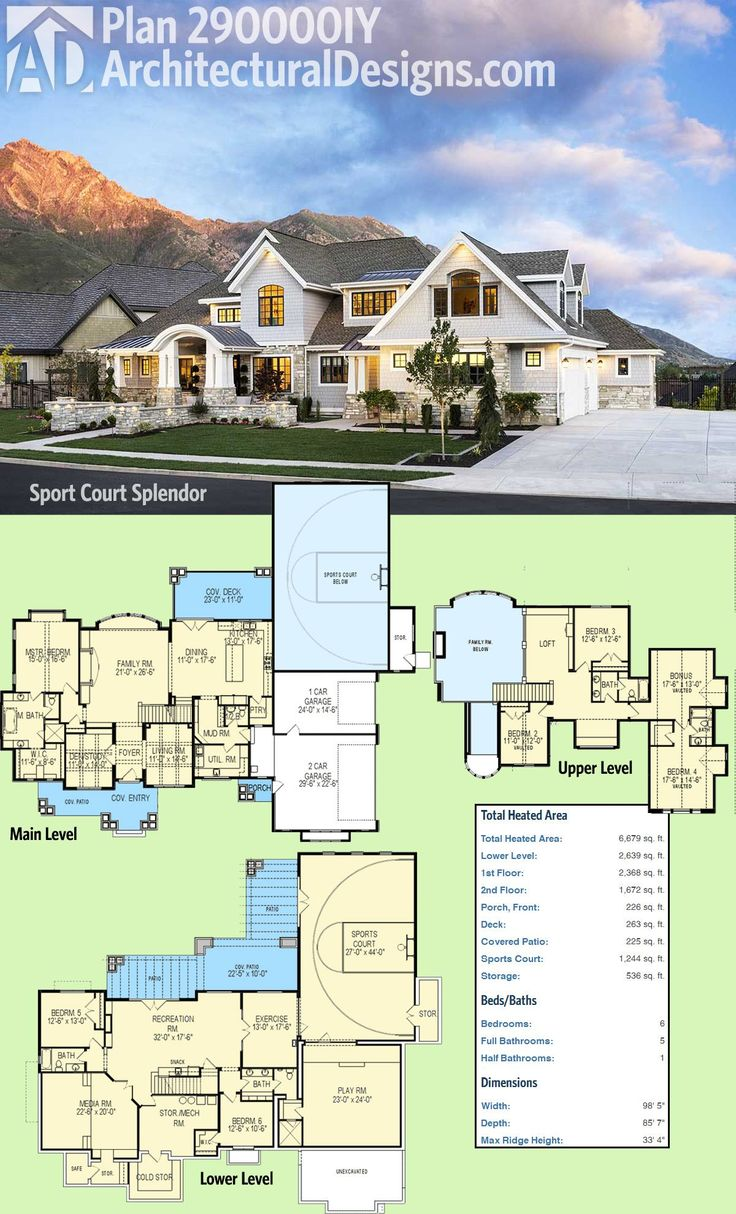 introducing architectural designs luxury house plan 290000iy with a sport court in the lower level - Houses Plans
