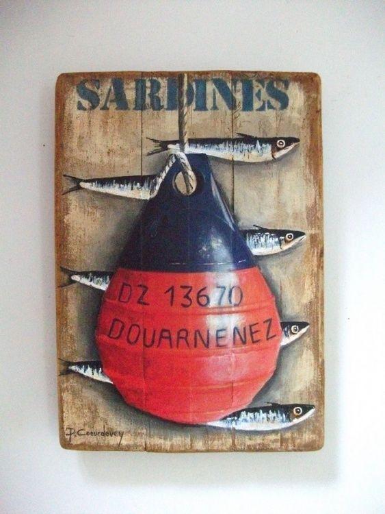1000 id es sur le th me peintures de poissons sur for Peinture sur bois flotte