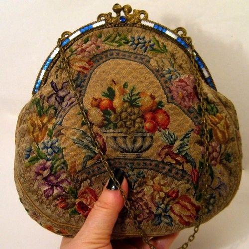 Antique Vintage Petit Point Purse Jeweled Frame Bag