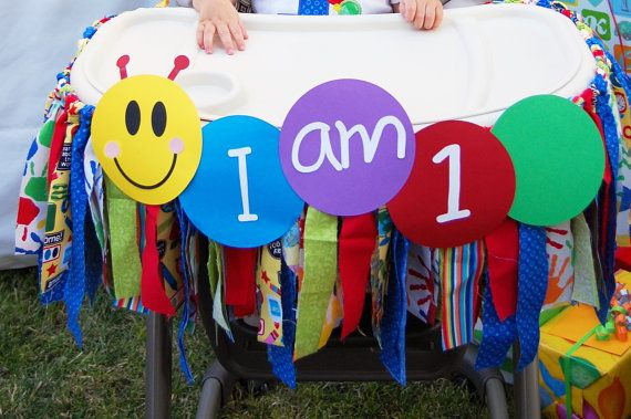 Baby's first birthday high chair bunting https://www.etsy.com/listing/238823403/baby-einstein-high-chair-rag-bunting