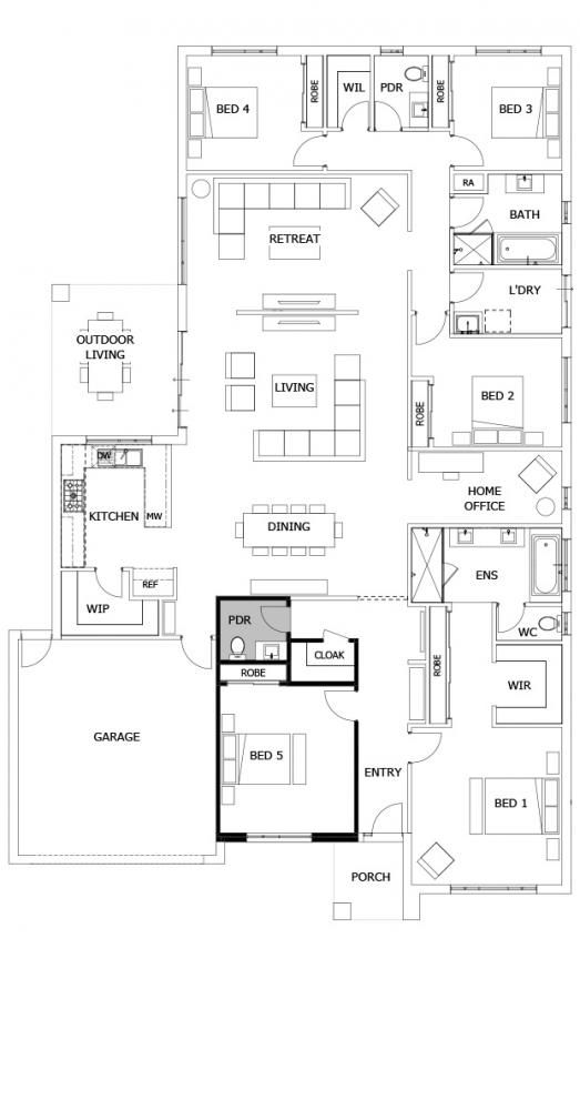 Providence | Boutique Homes Move laundry to garage and kitchen. Then toilet where laundry was. Then wit for bed 3 & 4