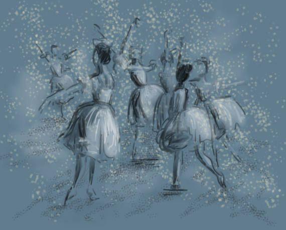 Ballet Illustration perfect for a little girls room, Print of original artwork by Amanda Steines
