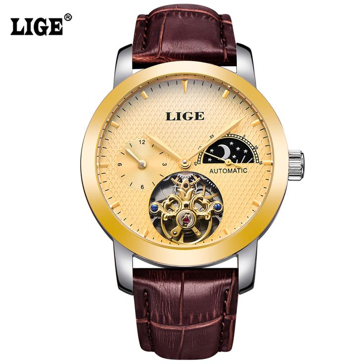 >> Click to Buy << LIGE Mens Watches Top Brand Luxury Moon Phase Automatic Watch men Dive 50m Business Leather Gold Man Clock relogio masculino #Affiliate