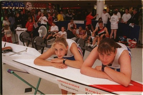 1998 Taking a breather during the million-metre marathon in the Eastgate Street shopping centre are Great Britain Junior rowing team prospects Sally Williams and Beth Rodford