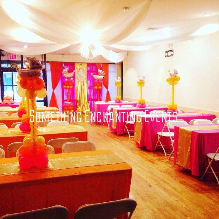 Full Room View Of The Baby Shower Itu0027s A Girl. Mini Baby Balloon Carriages  For · Orange TableclothsGold ...