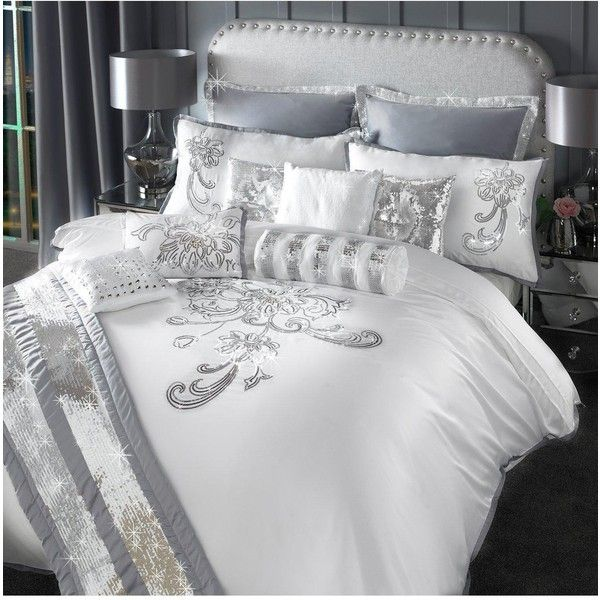 By Caprice Valeria Duvet Cover (£44) ❤ liked on Polyvore featuring home, bed & bath, bedding, duvet covers, gray floral bedding, grey king bedding, super king bedding, white bed linen and gray bedding