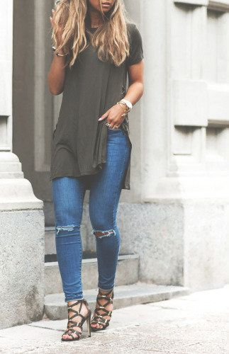 @beyjess12 // I love this look of an olive army green tee, jeans, and strappy sandals!