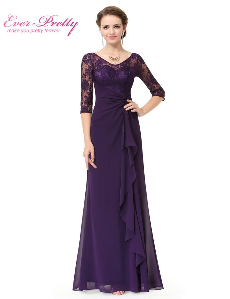 Long Purple Mother of the Bride Dresses Ever Pretty EP08890 A-line Half lace Sleeve Mother of the Bride Dresses